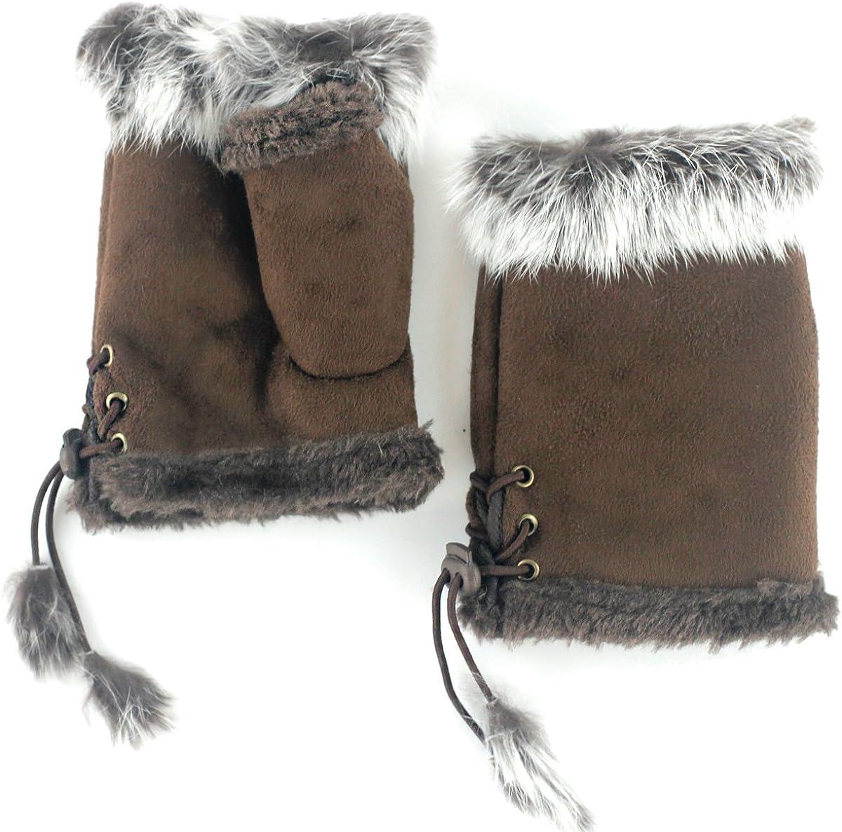UER Women's Winter Fingerless Gloves Warm Mittens with Fur Brim