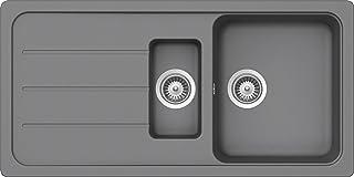 SCHOCK Küchenspüle 100 x 50 cm Formhaus D-150L Croma - CRISTALITE Granitspüle mit 1 ½ Becken ab 60 cm Unterschrank-Breite