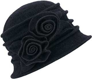 1920s Gatsby Womens Flower Wool Warm Beanie Bow Hat Cap Crushable A287