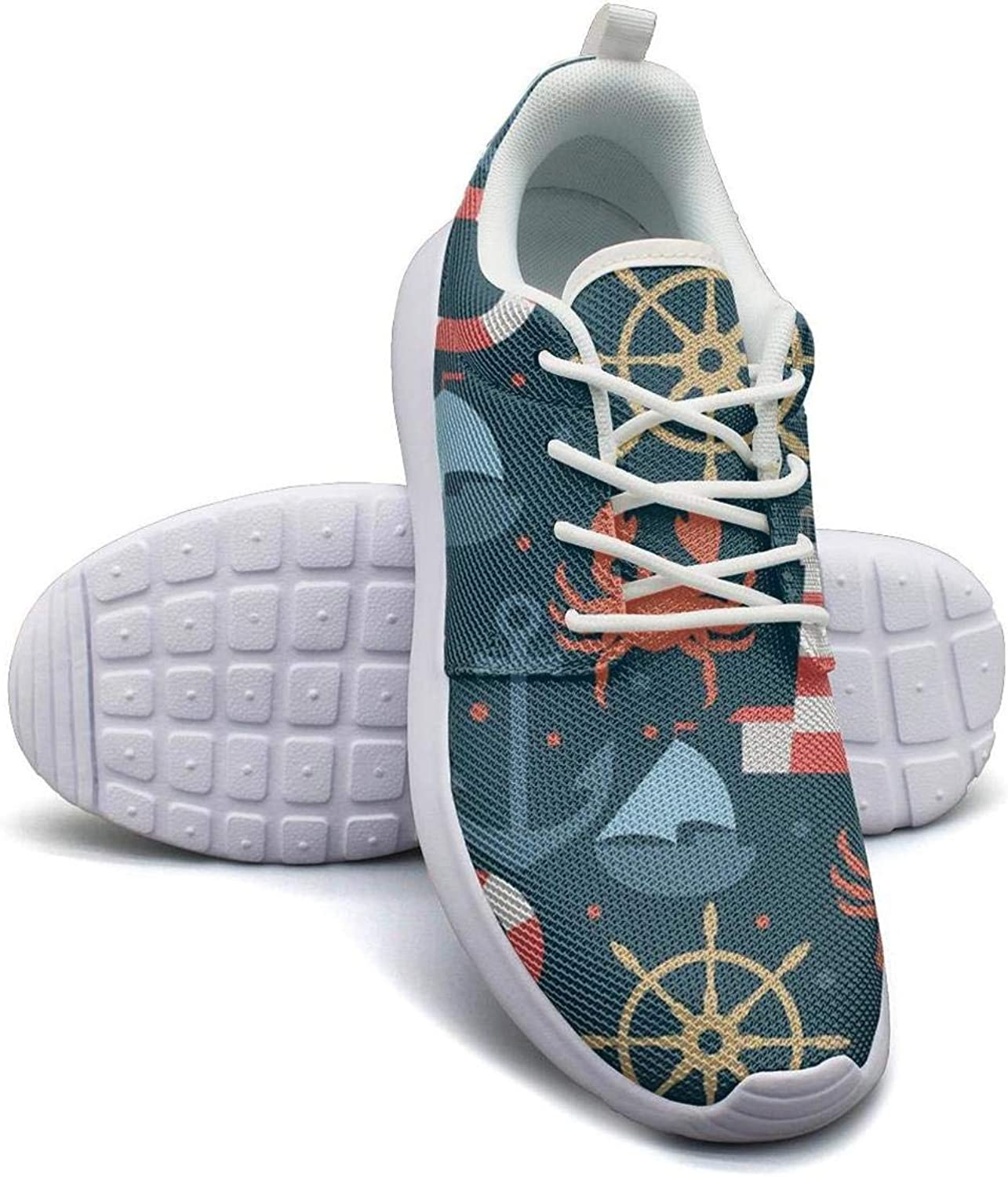 Gjsonmv Navy Sea Lighthouse Crab Anchor Sailboat mesh Lightweight shoes Women Casual Sports Sneakers shoes