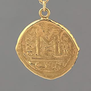 LARGE Ancient Coin Pendant Gold Necklace - AC1