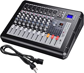 AW 8 Channel Professional Powered Mixer with USB Slot DJ Power Mixing 110V 16.5