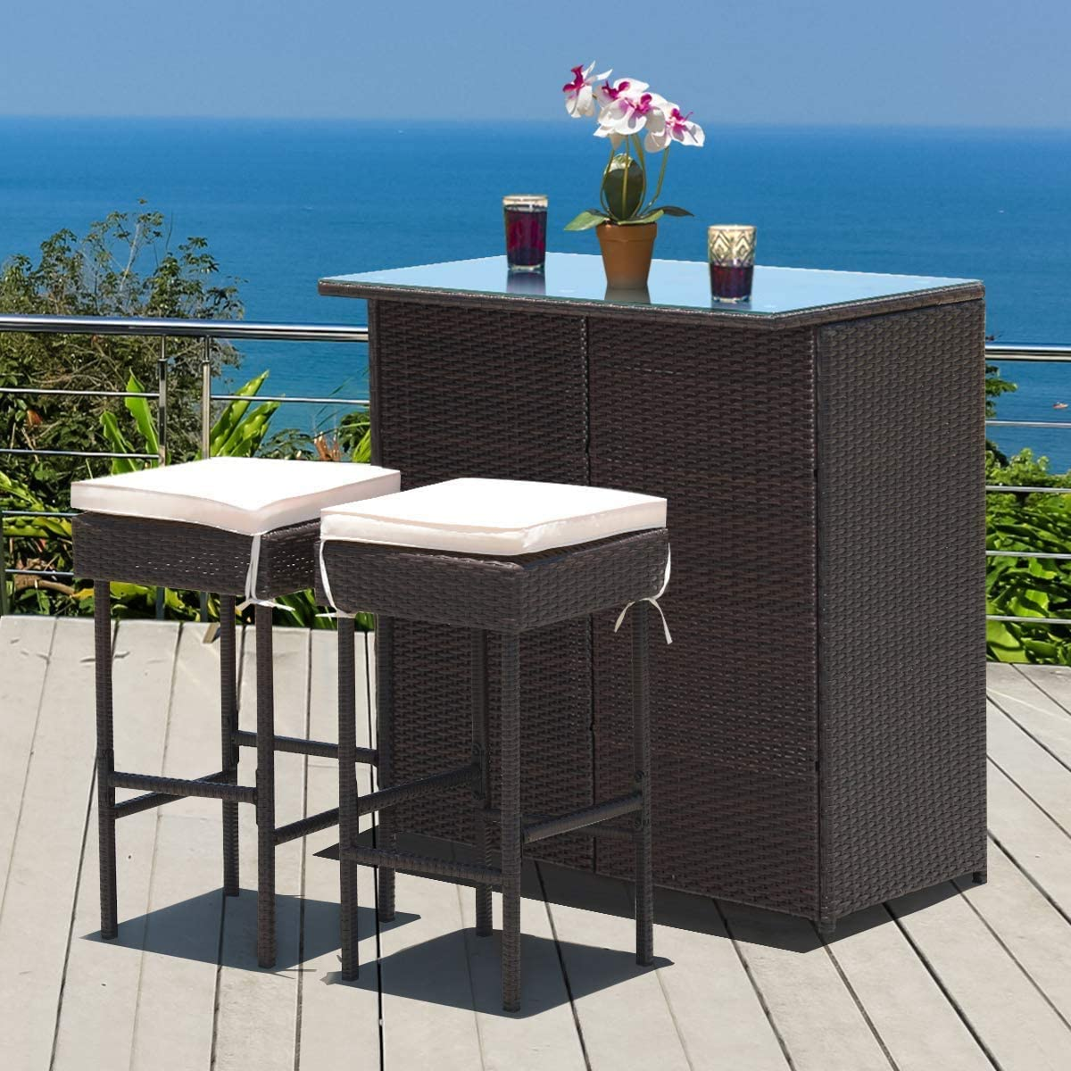 HAPPYGRILL Selling and Max 55% OFF selling 3pcs Patio Bar Set Rattan Wicker Stools Table