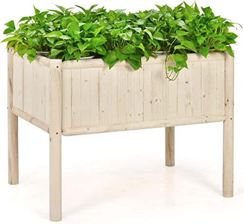 popular Giantex Raised Garden Bed, Elevated lowest Wood Planter Box, Planter Raised online sale Beds, with Legs & Black Liner, Planting Raised Beds, Herb Vegetable Flowers Growing Container, Easy Assembly (1) sale