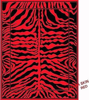 Mybecca Animal Print Zebra Skin Area Rugs Exotic Striped African Contemporary Carpet (Black/Cherry Red, large 5'2 x 7'3)
