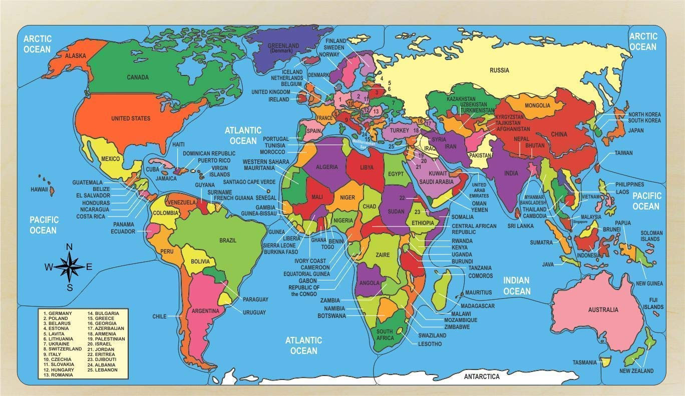 Amazon.com: Wooden World Map Puzzle Handmade for Children with Naming  Oceans, Countries and the Geographical Location Educational for Learning  their Geography : Handmade Products