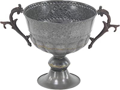 "Deco 79 29354 Traditional Metal Trophy Planter, 13"" W X 11"" H, Gray/Brown"