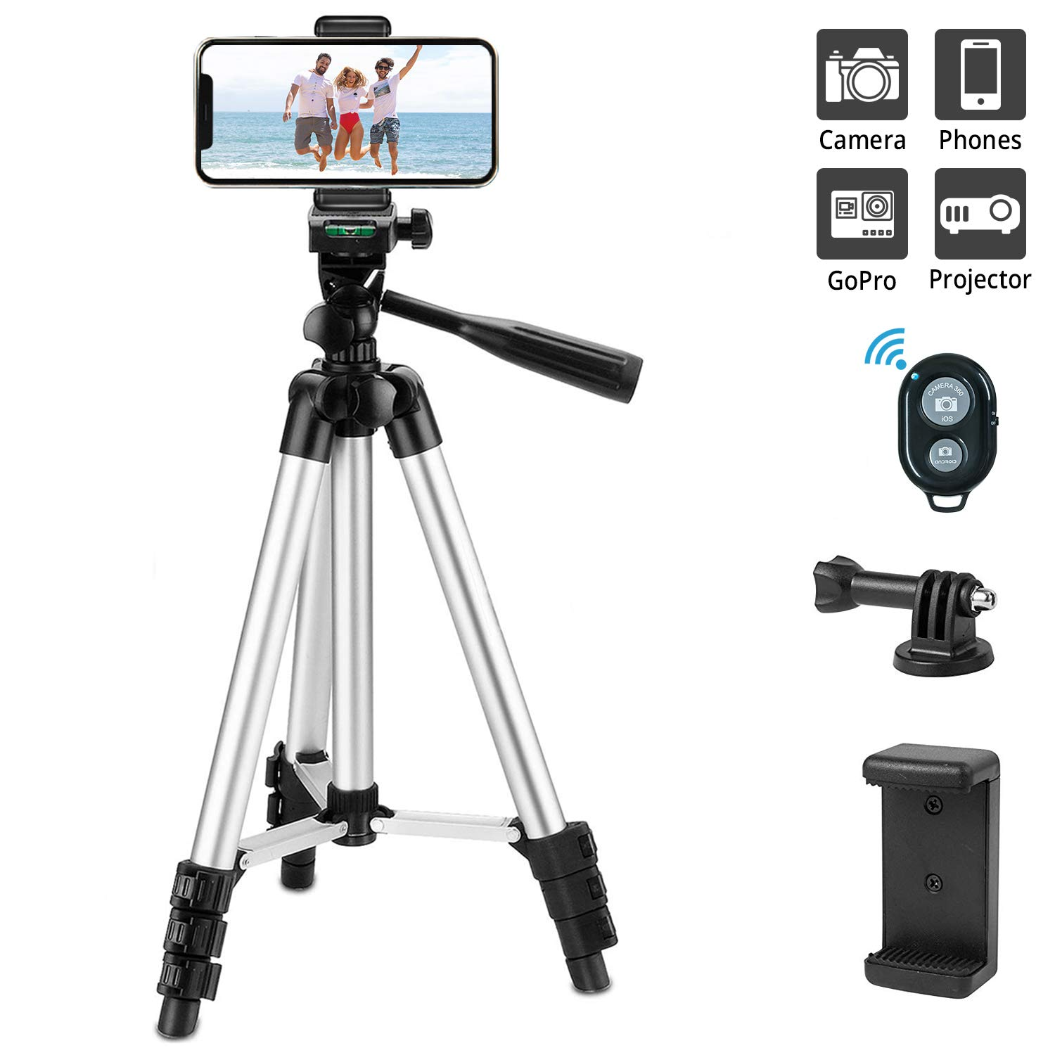 Projector etc. Phone Tripod Extendable Wireless Remote Control Smartphone Video Tripod Handheld Selfie Stick Tripod for DSLR Camera Smartphone