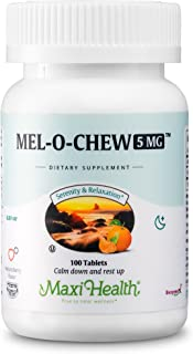 Extra-Strength Mel-O-Chew by Maxi Health | 5 MG Kosher Chewable Melatonin - Sleep Aid and Stress Relief | Clinically Prove...