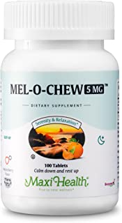 Extra-Strength Mel-O-Chew by Maxi Health | 5 MG Kosher Chewable Melatonin - Sleep Aid and Stress Relief | Clinically Proven for Tranquil Sleep | 100 Easy-to-Take Chewable Tablets