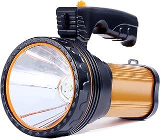 Allflash High Power Super Bright Portable Handheld spotlight Flashlight 6000 Lumens USB Rechargeable LED Searchlight Waterproof Outdoor Torch Light (Gold)