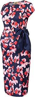 Women's Floral Knee Length Side Ruched Fitted Maternity Dress