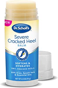 Dr. Scholl's Cracked Heel Repair Balm 2.5oz, with 25% Urea for Dry Cracked Feet, Heals and Moisturizes for Healthy Feet