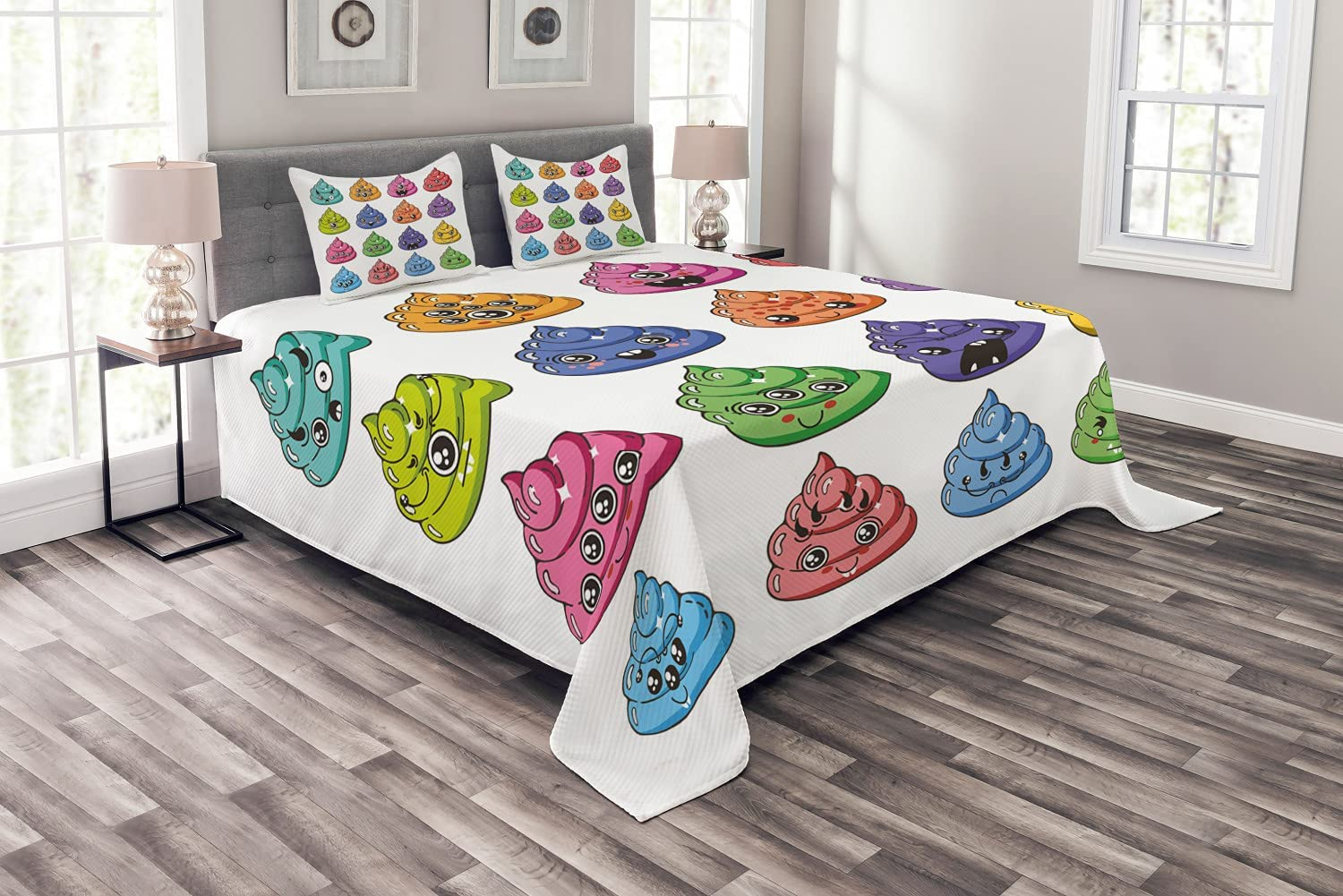 Gorgeous Ambesonne Poop Emoticon Milwaukee Mall Bedspread Happy Pattern Colorful Kaw of