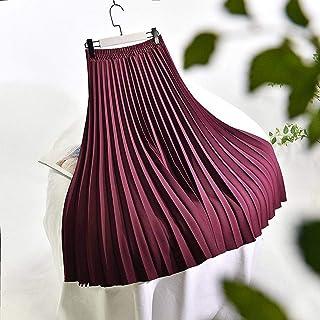 ZJMIYJ Kjolar för kvinnor – enfärgad midi lång kjol hög midja veckade tjocka smala A-linjekjolar för kostymer vår kvinnors...
