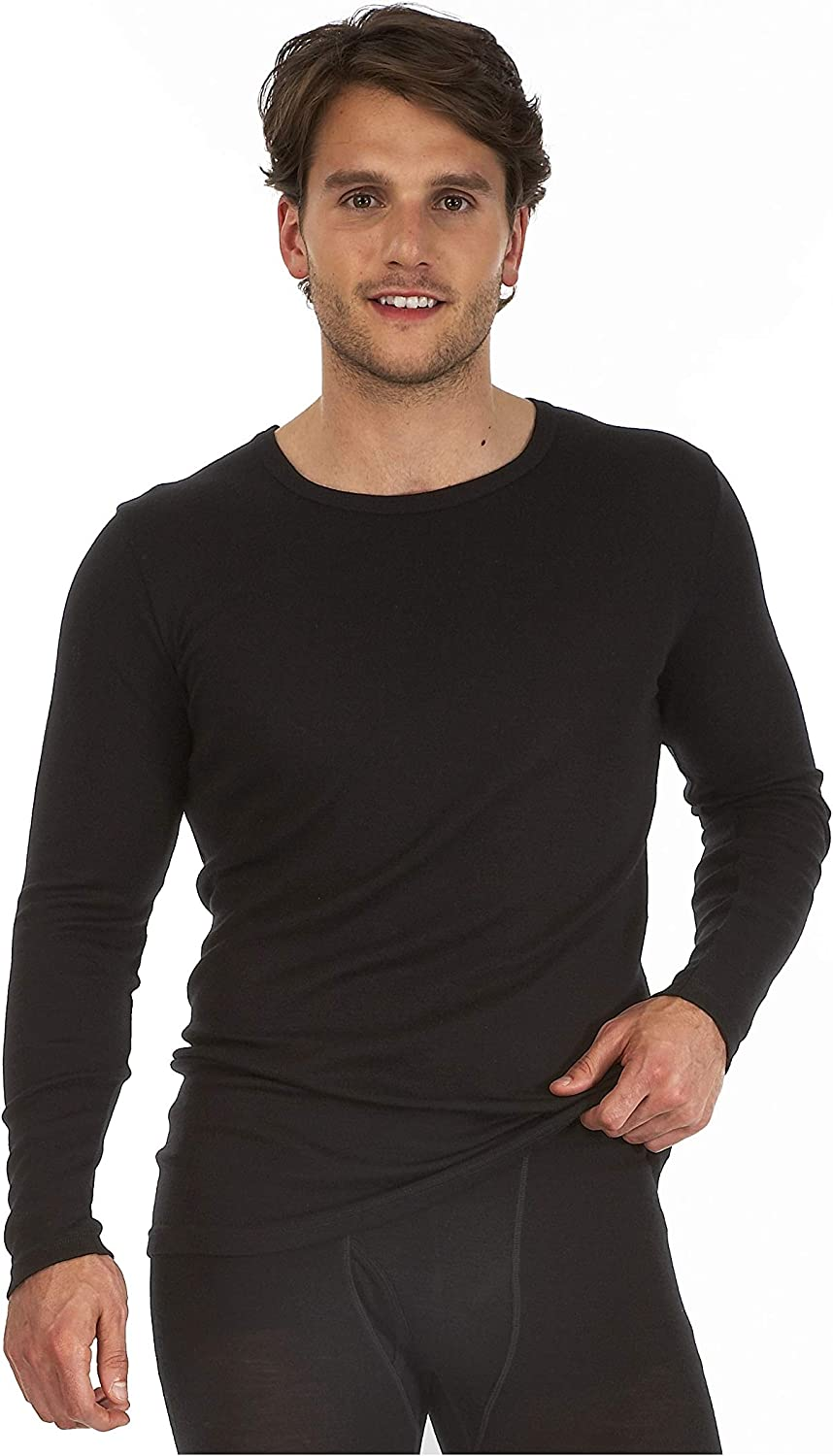 Palm/® Mens Invisible Seamless Long Sleeve Round Neck Thermal Top Base Layer