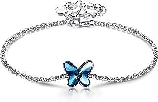 ANGEL NINA Pulsera Regalo para Ella, Serie Mariposa, Cristales de Swarovski, Plata de Ley 925, Platino Plateado, Exquisita...