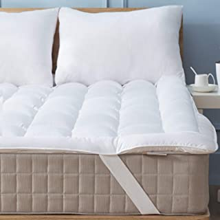 Mattress Topper Queen Quilted Down Alternative Anchor Band 4 Corner Elastic Protector Reviver Enhancer Extra Deep Fits 20 Inches Soft White Bed Cover (Microfiber, Queen 4 Corner)