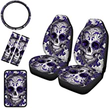 COEQINE Sugar Skull Printed Car Seat Headrest Cover Dust Proof Covers Interior Decor Car Accessories for Women,2 Piece