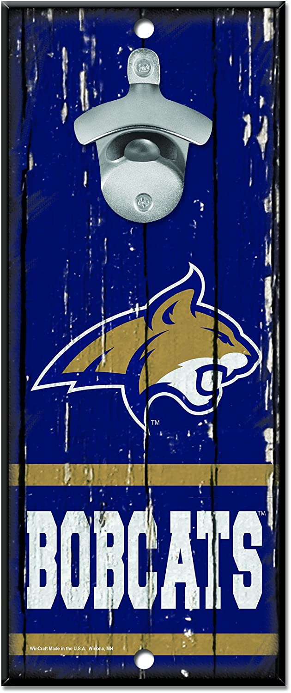 NCAA Montana State Bobcats Wood Bottle Opener Sign, 5  x 11 , Multicolor