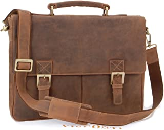 Visconti Briefcase Messenger Bag A4 - Hunter Leather- Hardwearing/Shoulder/Cross Body/Laptop Compatible/Notebook/iPad/Business/Office/Work Bag -18716- Berlin - Oil Tan