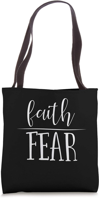 Faith Over Fear Cute Motivational Christianity Religious Tote Bag