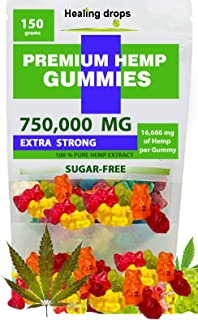 Premium Organic Sugar-Free Gummies Natural Health Support 750,000MG High Potency Relaxing, Stress & Anxiety Relief Rich in...