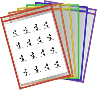 Thornton's Office Supplies Oversized Learning Reusable Dry Erase Classroom Top-Load Pockets Sleeves Charts, 9 x 12 Inches, Assorted Colors, 30 Pockets Per Pack