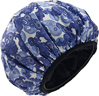 Jumbo Size Triple Layer Shower Cap for Women Microfiber Terry Cloth Silky Satin 100% Waterproof Shower Hats Reusable Breathable Plus Size Hair Hats for Large Long or Natural Hair Ladies (BULE AND WHITE PAISLEY)