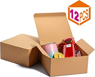MESHA Kraft Boxes 8x8x4 Inch,Brown Gift Boxes Bulk,Brown Paper Gift Boxes with Lids for Gifts, Crafting, Cupcake Boxes,Boxes for Wrapping Gifts,Bridesmaid Proposal Boxes (Brown-12Pcs)