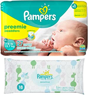 Diaper / Baby Wipe Travel Pack | Includes Pampers Swaddlers Preemie (27 count) and Sensitive Wipes Resealable Container (18 count)
