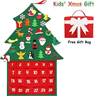JBR 2019 Christmas Tree Fabric Advent Calendar, 24 Days Countdown Calendar to Xmas with DIY Ornaments Set Decoration Wall Door Hanging for Toddlers Kids Gift