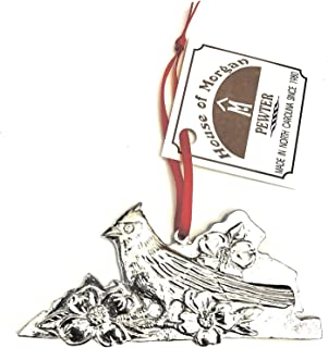Virginia VA State Outline Symbols Holiday Christmas Ornament Pewter