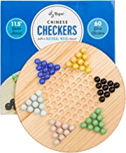 Regal Games Chinese Checkers, 11.5 in. Natural Wood Board Game Includes 60 Glass Marbles
