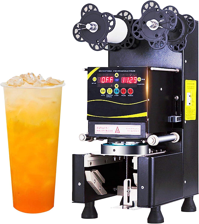 Máquina de Sellado de Vasos automática selladora de Vasos Comercial eléctrica Control Digital Sellador de Tazas para café té Leche para sellar Vasos de plástico de PP, Pet y Vasos de Papel Ø 70-95 mm