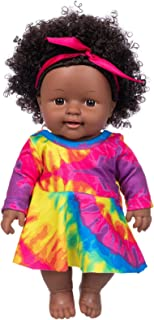 ZITA ELEMENT Realistic Black Baby Girl Doll Toy 11.8 Inch Cute Curly Hair Black Skin African American Indian Style Baby Do...