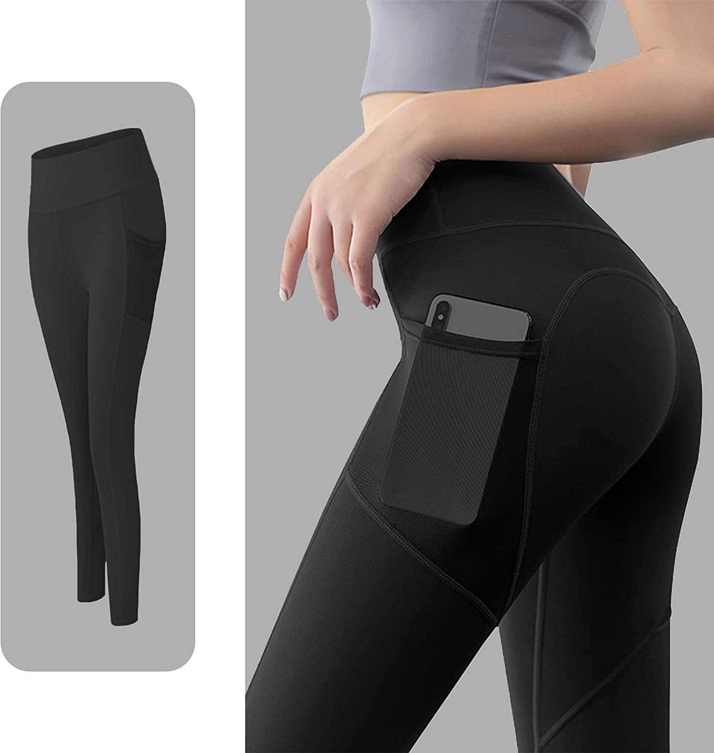 Sigeeya Womens Quick-Dry Yoga Pants High Waist Workout Gym Sweatpants Tummy Control Leggings with Pockets