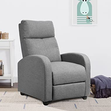 JUMMICO Fabric Recliner Chair Adjustable Home Theater Single Recliner Sofa Furniture with Thick Seat Cushion and Backrest Mod