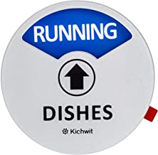 "Kichwit Clean Dirty Dishwasher Magnet with The 3rd Option""Running"", Perfect for Quiet Dishwashers, Non-Scratch Strong Magnet Backing & Residue Free Adhesive, 3.5"" Diameter, Silver"