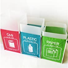 (Plastic) - Recycle Bin Separate Recycle Bag Waste Baskets Compartment Container with Inner Frame (3 Bins + 3 Inner Frames...