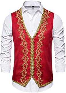 qianqianq Mens Button Down Embroidered Sleeveless Waistcoat Full-Sequins Suit Vest