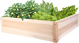 Sponsored Ad - unho Solid Wood Planter Box for Garden Yard Lawn 31.5x31.5(inches) Square Plant Herbs Flowers Veges Growing...