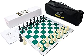 Mynnnat Professionals Chess Set, Portable Tournament Board and Pieces with Roll-Up Rubber Board, Carry On Bag, 2 Extra Queens and Unique Booklet