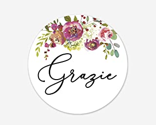 Grazie Stickers, Italian Wedding and Bridal Shower Event Favor Labels (#379-012)