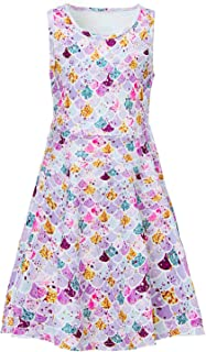 Girls Dresses Floral Printed Sleeveless Sundress Casual Round Neck Frock for 4-13 Years