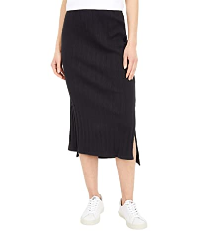 PACT Organic Cotton Ribbed Midi Skirt (Black) Women