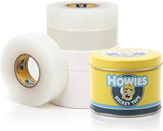 """Howies Hockey Tape 6 Roll Pack - Cloth (1 Inch by 25 Yards Long) Clear/Poly (1"""" x 30yds) with Free Tape Tin (Choose Your C..."""