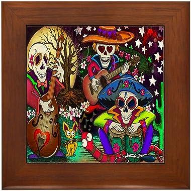 CafePress Day of The Dead Music Art Framed Tile, Decorative Tile Wall Hanging