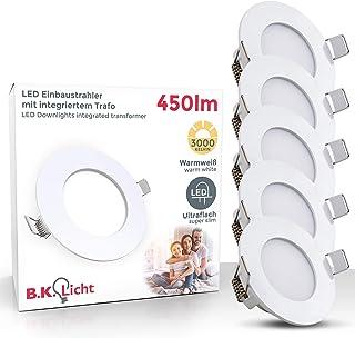 5 Downlight extraplano redondo LED 5W 550lm, luz blanco cálido 3000K, Ø85 mm instalación de profundidad 30mm, focos empotrables, no requiere transformador, color blanco