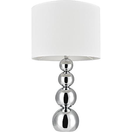 [lux.pro] Lampe de Table Lampe de Chevet E14 Métal Textile Hauteur 43 cm Blanc et Chrome